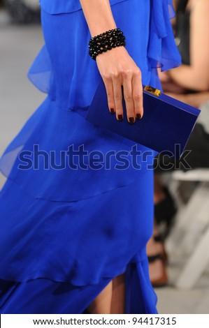 NEW YORK - SEPTEMBER 13: Model walks the runway at the Oscar De La Renta Spring/Summer 2012 collection during New York Fashion Week on September 13, 2011 in New York City. - stock photo