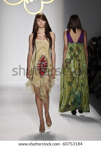 NEW YORK - SEPTEMBER 10: Model walks the runway for Gulnara Karimova Collection Guli for Spring/Summer 2011 during Mercedes-Benz Fashion Week on September 10, 2010 in New York - stock photo