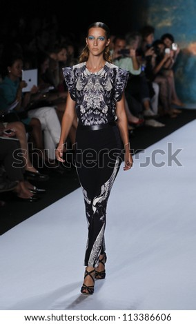 NEW YORK - SEPTEMBER 08: Model walks the runway for Monique Lhuillier Collection during Spring/Summer 2013 at Mercedes-Benz Fashion Week on September 8, 2012 in New York