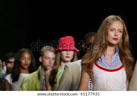 NEW YORK - SEPTEMBER 12: Models are walking the runway at the Tommy Hilfiger collection presentation for Spring/Summer 2011 during Mercedes-Benz Fashion Week on September 12, 2010 in New York - stock photo