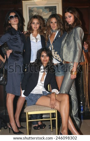 NEW YORK - SEPTEMBER 09 : Models posing backstage during  Rock & Republic at Olympus Fashion Week Spring 2007  at Cipriani  - September 09, 2006 in NYC, NY, United States. - stock photo