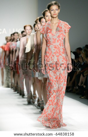 NEW YORK - SEPTEMBER 14: Models walk the runway at the Luca Luca collection presentation for Spring/Summer 2011 during Mercedes-Benz Fashion Week on September 14, 2010 in New York. - stock photo