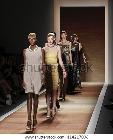 NEW YORK - SEPTEMBER 07: Models walk the runway for Czar Collection by Cesar Galindo during Spring/Summer 2013 at Mercedes-Benz Fashion Week on September 07, 2012 in New York - stock photo