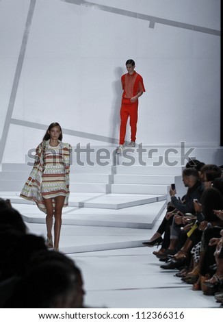 NEW YORK - SEPTEMBER 8: Models walk the runway for Lacoste Collection by Felipe Oliveira Baptista during Spring/Summer 2013 at Mercedes-Benz Fashion Week on September 8, 2012 in New York