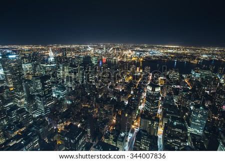New York - September 19 , Night view from the Empire State bulding Hudson river lights reflectingon 19 September 2015.  - stock photo