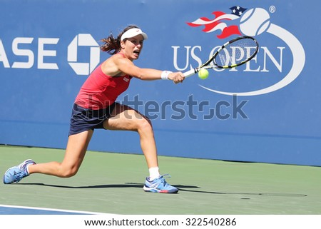 NEW YORK - SEPTEMBER 8, 2015: Professional tennis player Johanna Konta of Great Britain in action during her third round US Open 2015 match at Billie Jean King National Tennis Center in New York
