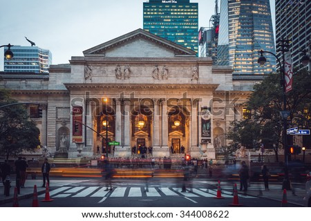 New York - September 26 , Public Libary facade , on 26 September 2015. The New York Public Library is a public library system in New York City with nearly 53 million items - stock photo