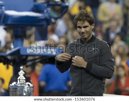 NEW YORK - SEPTEMBER 9: Rafael Nadal of Spain poses after winning final against Novak Djokovic if Serbia at USTA Billie Jean King National Tennis Center on September 9, 2013 in New York City