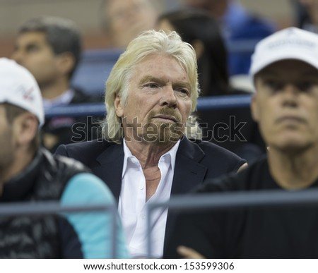 NEW YORK - SEPTEMBER 5: Richard Branson attends quarterfinal match between Novak Djokovic of Serbia & Mikhail Youzhny of Russia  at USTA Billie Jean King National Tennis Center on Sep 5, 2013 in NYC - stock photo
