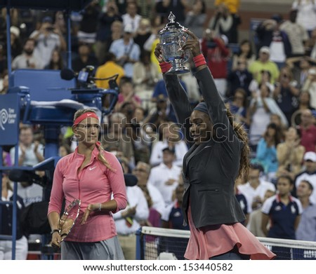 NEW YORK - SEPTEMBER 8: Serena Williams & Victoria Azarenka of Belarus pose with respective  trophy after final match at USTA Billie Jean King National Tennis Center on September 8, 2013 in New York