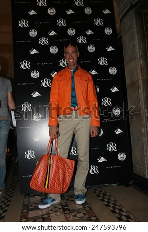 NEW YORK - SEPTEMBER 09 : Stylist Robert Verdi posing backstage during  Rock & Republic at Olympus Fashion Week Spring 2007  at Cipriani  - September 09, 2006 in NYC, NY, United States. - stock photo