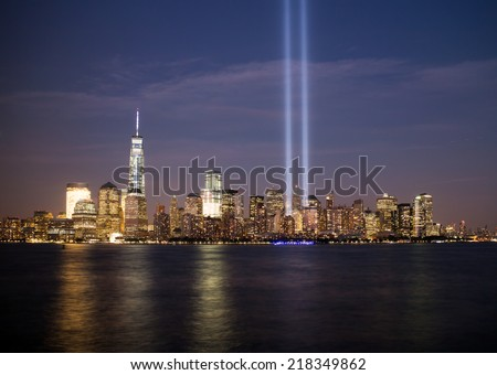 NEW YORK - SEPTEMBER 11, 2014: Tribute in Light at lower Manhattan remembering 9/11 - stock photo