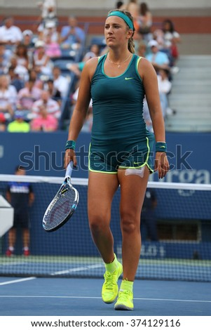 NEW YORK - SEPTEMBER 5, 2015: Two times Grand Slam champion Victoria Azarenka of Belarus in action during US Open 2015 third round match at Arthur Ashe Stadium - stock photo