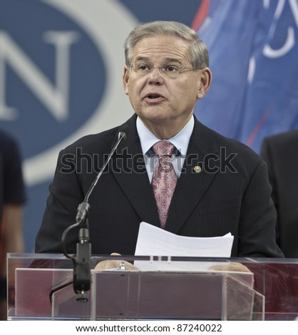 NEW YORK - SEPTEMBER 03: US Senator Robert Menendez speaks at the induction ceremony of Pancho Gonzalez into the 2011 US Open Court of Champions on September 03, 2011 in New York City, NY.