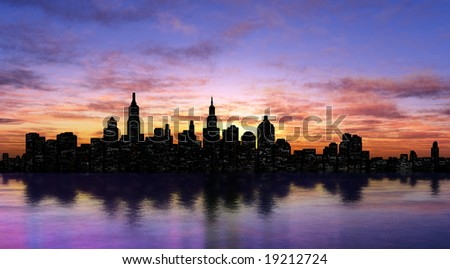 New York silhouette - stock photo