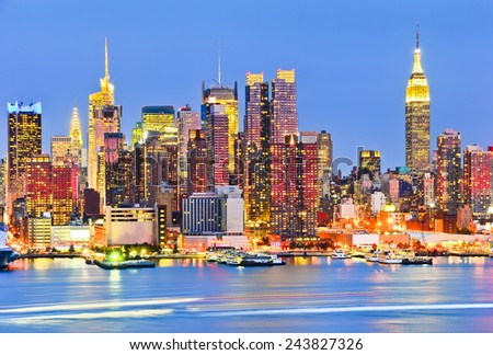 New York skyline at dusk. - stock photo