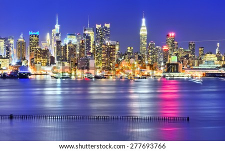 New York skyline at night. - stock photo