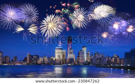 New York skyline at night with fireworks - stock photo