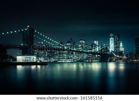 New York skyline by night - stock photo