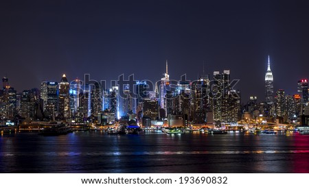 New York Skyline from Hamilton Park New Jersey - stock photo