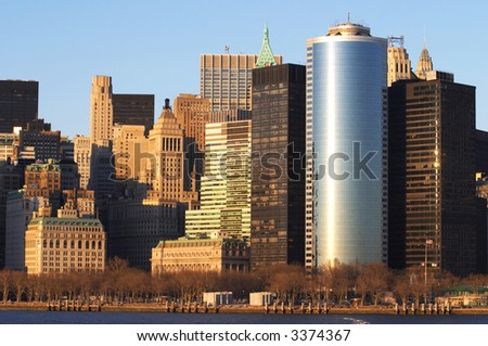 New York skyline shot during the sunrise - stock photo