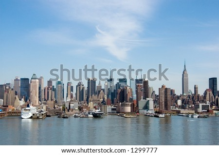 New York skyline , view from Hudson River