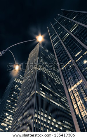 New York skyscrapers at night - stock photo