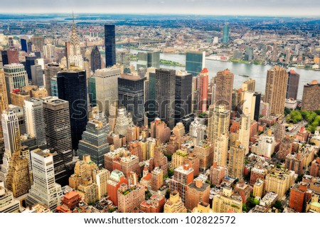 New York skyscrapers bird view - stock photo