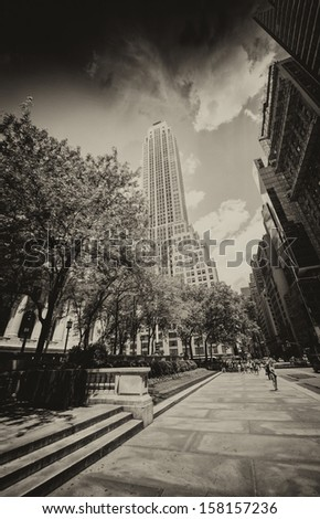New York Skyscrapers on 5th Avenue, Next to the Public Library. Beautiful Manhattan street view. - stock photo