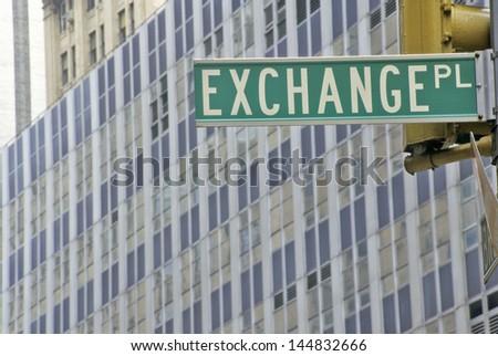 New York Stock Exchange street sign, Wall Street, New York City, NY - stock photo