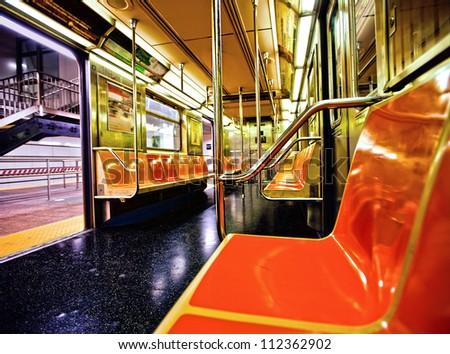 New York subway car interior with open door - stock photo