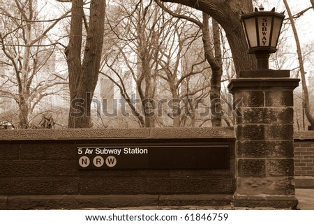 New York subway station near central park - stock photo