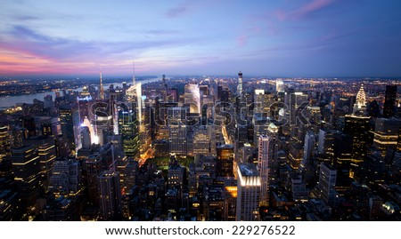 New York sunset skyline taken from the Empire State Building  - stock photo