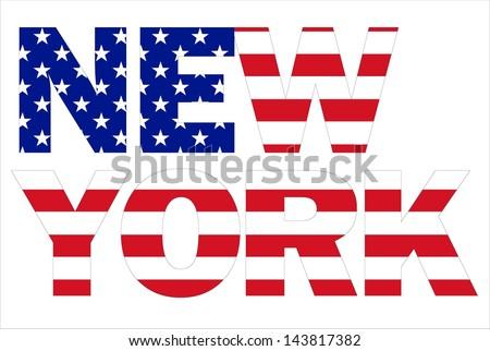 New York text written with USA flag - stock photo