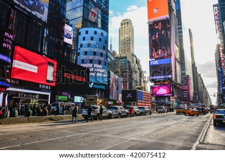 NEW YORK, UNITED STATES - DECEMBER 30, 2015 - Times Square is one of the major intersections of the New York district of Manhattan known for the large and numerous animated and digital billboards