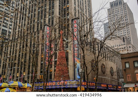 NEW YORK, UNITED STATES - DECEMBER 28, 2015 - view of illuminated streets and skyscrapers of New York in time square