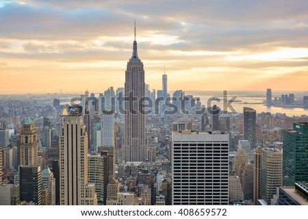 NEW YORK, UNITED STATES - DECEMBER 29, 2015 - view of the Empire State of New York building from rockefeller center - stock photo