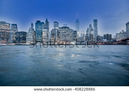 NEW YORK, UNITED STATES, JANUARY 02, 2016 - View  from the Brooklyn Bridge from Manhattan skyline - stock photo