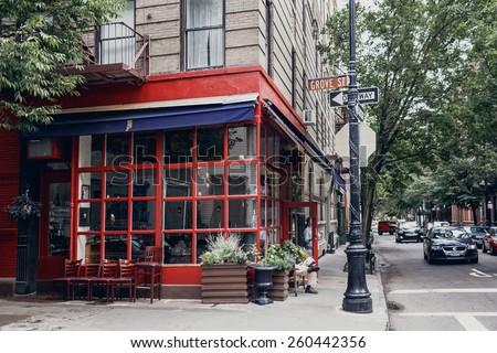 NEW YORK, UNITED STATES - SEPTEMBER 10: Typical street of Soho district in Manhattan, New York on September 10, 2014 - stock photo