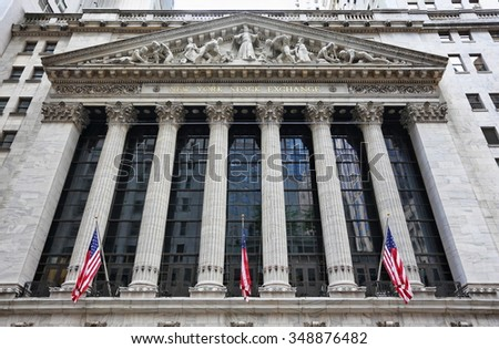 New York, US - August 26, 2015: The New york Stock Exchange August 26, 2015 in New York, NY. It is the largest stock exchange in the world by market capitalization. - stock photo