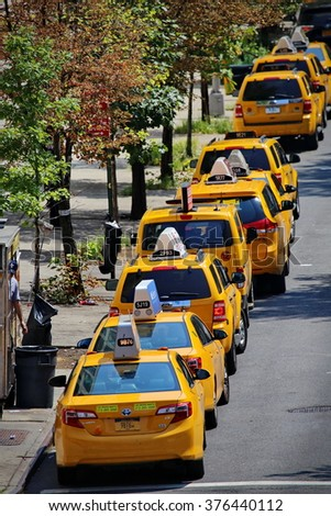 New York, US - August 2015: yellow taxi cab in Chelsea distrct New York - stock photo