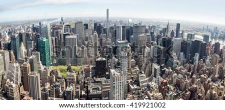 NEW YORK, USA - Apr 30, 2016: New York City Manhattan midtown aerial panorama view with skyscrapers - stock photo