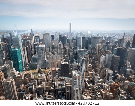 NEW YORK, USA - Apr 30, 2016: New York City Manhattan midtown aerial panorama view with skyscrapers