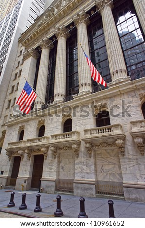 NEW YORK, USA - APRIL 24, 2015: New York Stock Exchange in Wall Street, Lower Manhattan, USA. It is called NYSE in short.  - stock photo