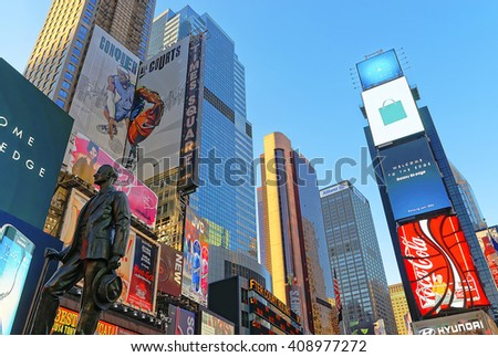 New York, USA - April 26, 2015: Statue of George M Cohan on Times Square at 7th Avenue and Broadway in Midtown Manhattan, New York, USA. It is a commercial intersection between Broadway and 7th Avenue - stock photo