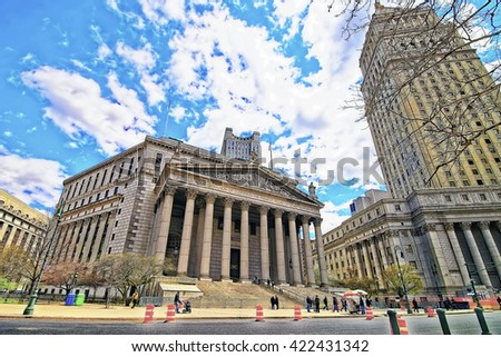 New York, USA - April 24, 2015: Street view on Thurgood Marshall United States Courthouse and New York State Supreme Building, or New York County Courthouse, in Lower Manhattan, New York, USA.  - stock photo