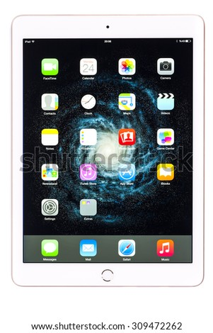 New York, USA - August 25, 2015:Brand new white Apple iPad Air 2, 6th generation of the iPad, developed by Apple inc. and was released on October 16, 2014
