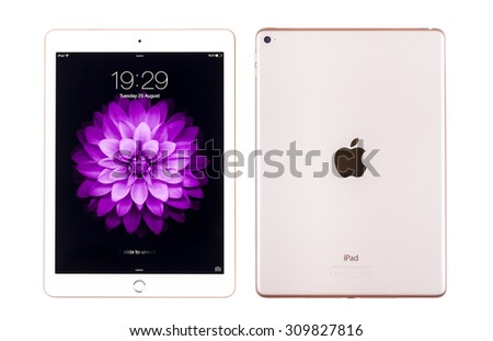 New York, USA - August 26, 2015: Brand new white Apple iPad Air 2, 6th generation of the iPad, developed by Apple inc. and was released on October 16, 2014 - stock photo