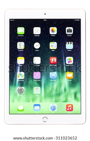 New York, USA - August 27, 2015:Brand new white Apple iPad Air 2, 6th generation of the iPad, developed by Apple inc. and was released on October 16, 2014