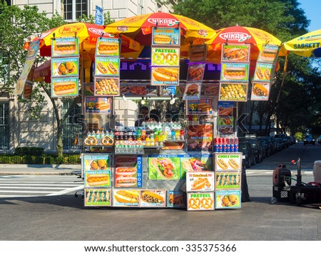 NEW YORK,USA - AUGUST 18,2015 : Fast food stand in New York City - stock photo